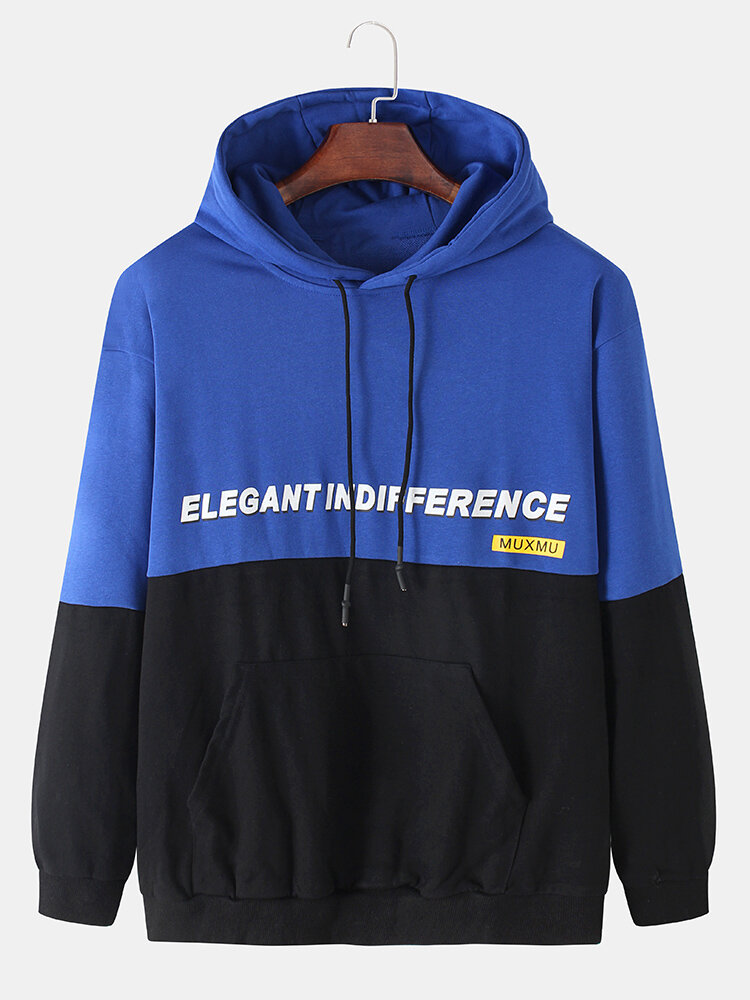 Mens Letter Print Patchwork Two Tone Hoodie With Kangaroo Pocket