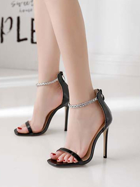 Milanoo Women\s Pumps Open Toe Stiletto Heel Rhinestones Chic Ankle Strap Sandals