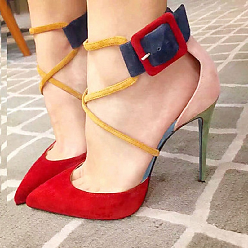 Ericdress Faux Suede Color Block Stiletto Heel Pointed Toe Women's Pumps