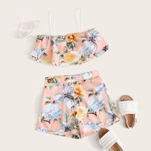Maedchen Camisole mit Blumen Muster und Shorts Set