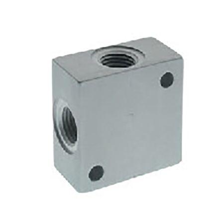 RS PRO Aluminium 100 bar Pneumatic Tee Threaded Adapter, G 1/4 Female G 1/4 Female (10)