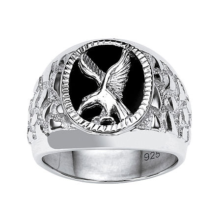 Eagle Mens Genuine Black Onyx Sterling Silver Fashion Ring, 13 , No Color Family