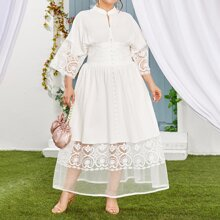 Plus High Waist Embroidered Organza Trim Maxi Dress