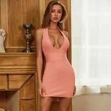 Sesidy Rueckenfreies Bandage Kleid mit V Ausschnitt und weitem Tailleband
