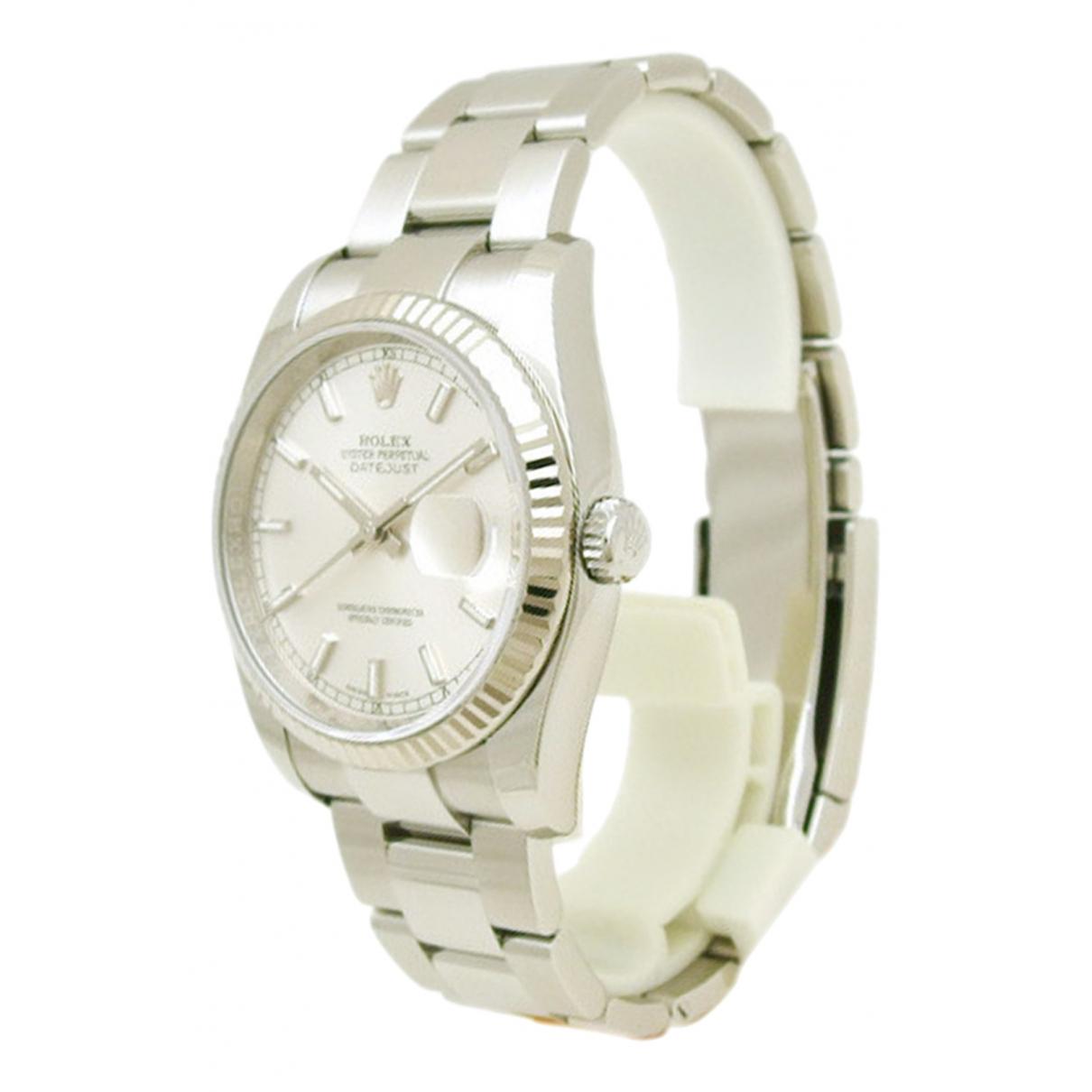 Rolex Oyster Perpetual 36mm Uhr in  Weiss Gold und Stahl