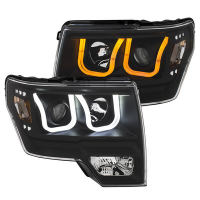 Anzo Projector Switchback headlights with U-Bar (Black with Amber) - 111383