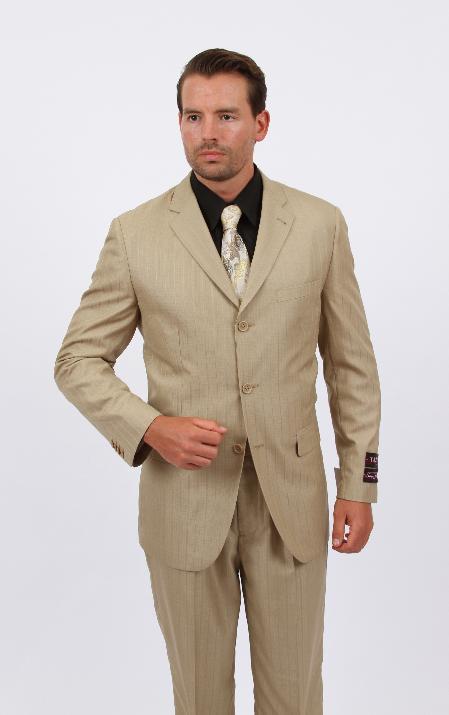 2 Piece Discount Suit Tone on Stripe Dark Tan