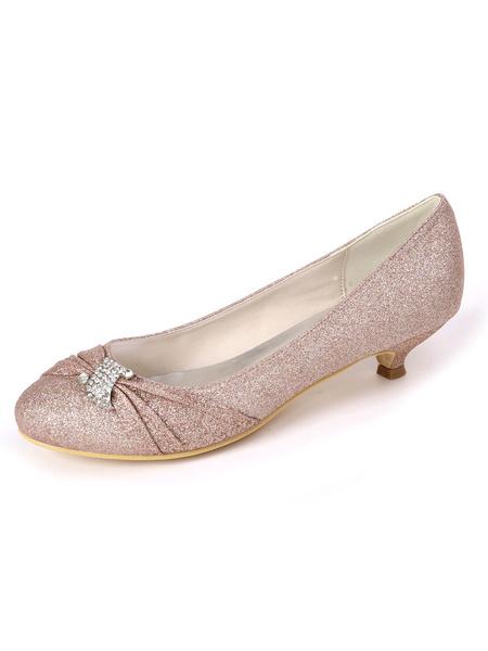 Milanoo Wedding Shoes Sequined Cloth Silver Round Toe Rhinestones Goblet Heel 1.4