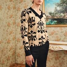Pullover mit V Kragen und Stamm Muster