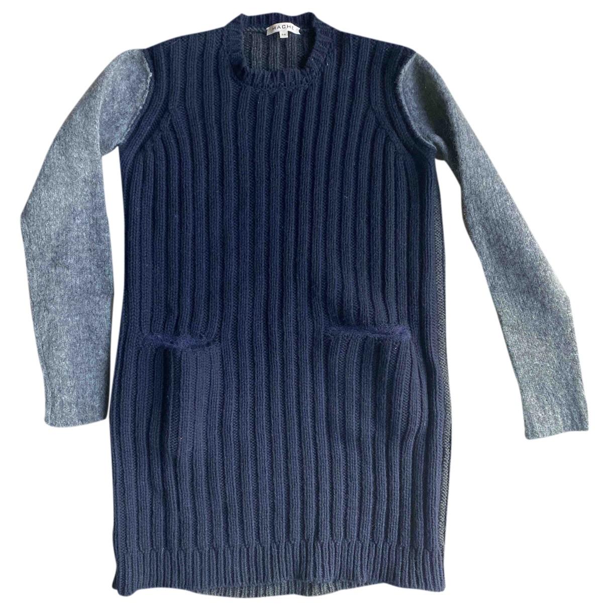Hache N Blue Wool Knitwear for Women 38 IT