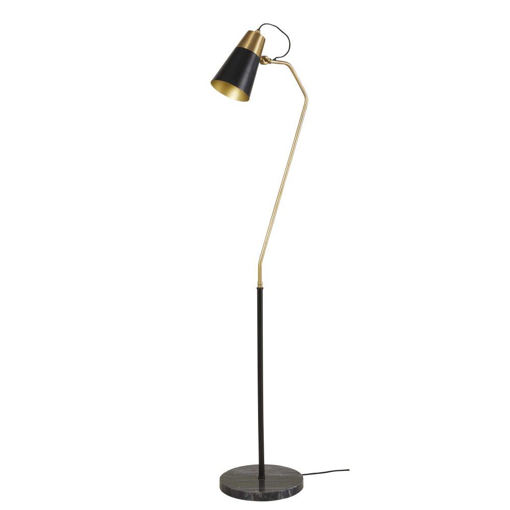 Stehlampe aus schwarzem Metall und schwarzem Marmor H152
