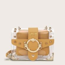 Transparente Tasche mit Nieten Dekor, Kette und innere Brieftasche