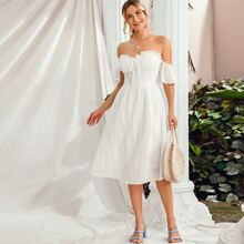 Off Shoulder Butterfly Sleeve Frill Trim Schiffy Dress