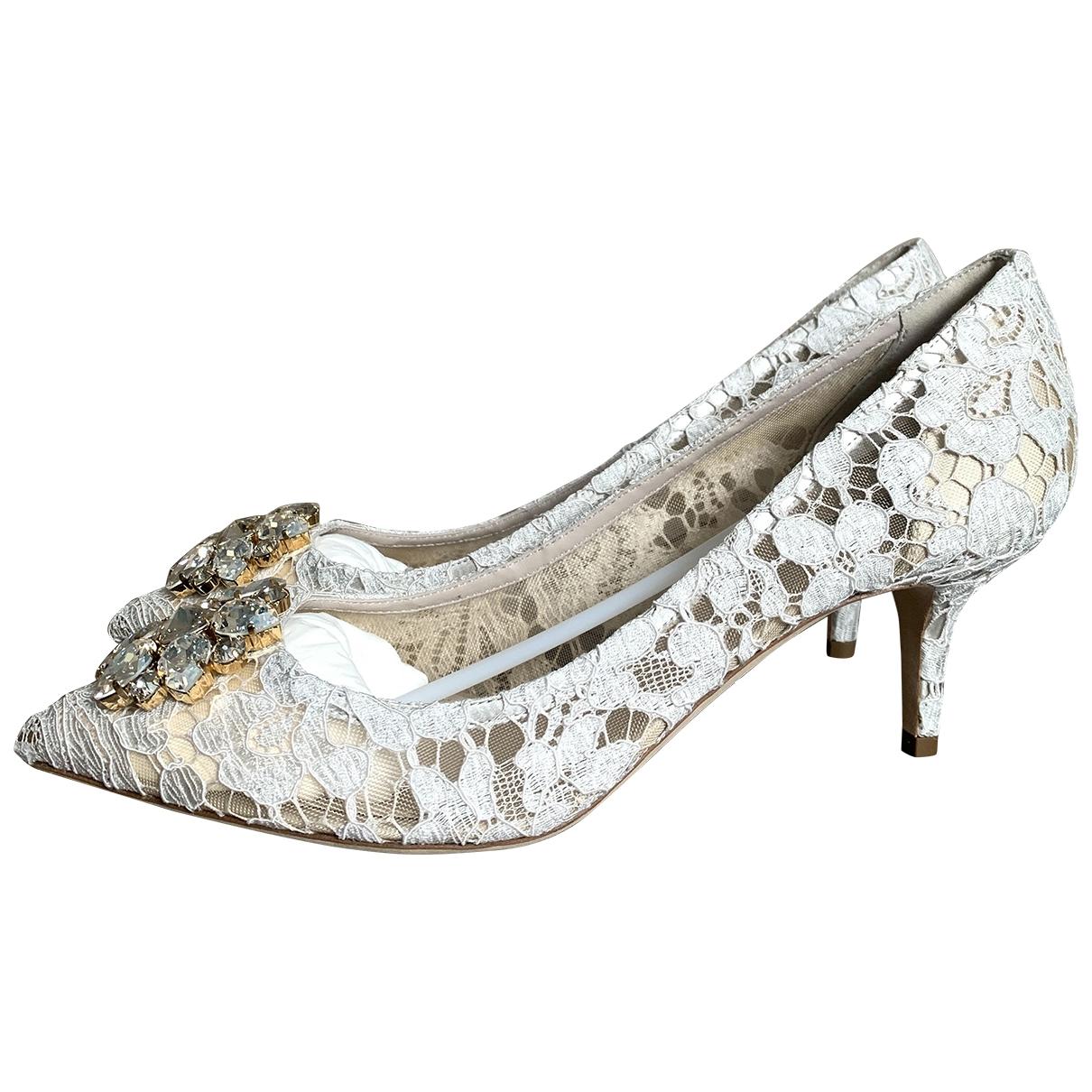 Dolce & Gabbana Taormina Pumps in  Weiss Leinen