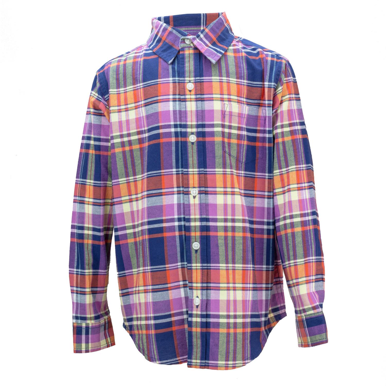 Janie And Jack Maroon/ Orange/Navy Plaid Shirt Button-Down & Dress - 12-18 Months