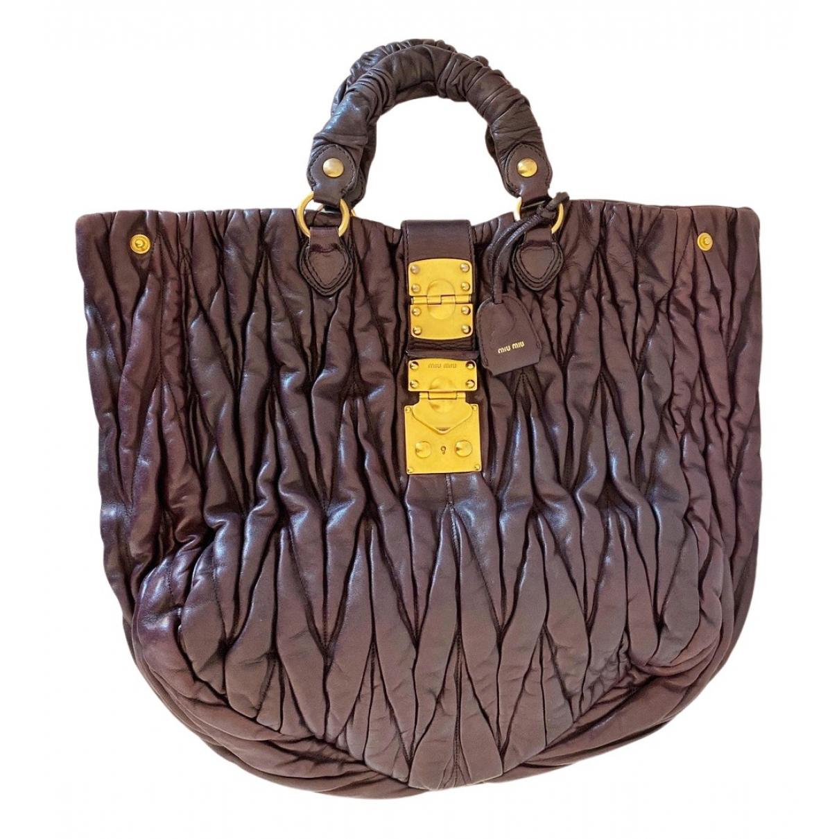 Miu Miu Matelassé Brown Leather handbag for Women N