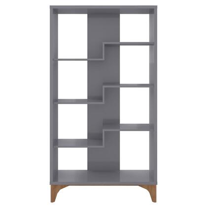 Gowanus Collection 6LC3 Bookcase with Scand inavian Modern Style  Medium Density Particleboard (MDP) Frame and Solid Eucolyptus Wood Feet in Grey