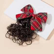 Toddler Girls Bow Hair Clip With Hair Extension