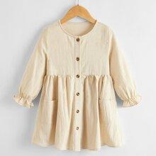 Toddler Girls Button Front Flounce Sleeve Smock Dress