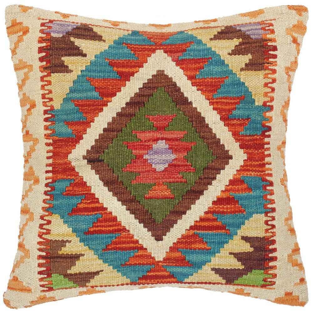 Shabby Chic Ela Hand-Woven Turkish Kilim Throw Pillow (Polyester - 18 in. x 18 in. - Accent - Rust - Single)