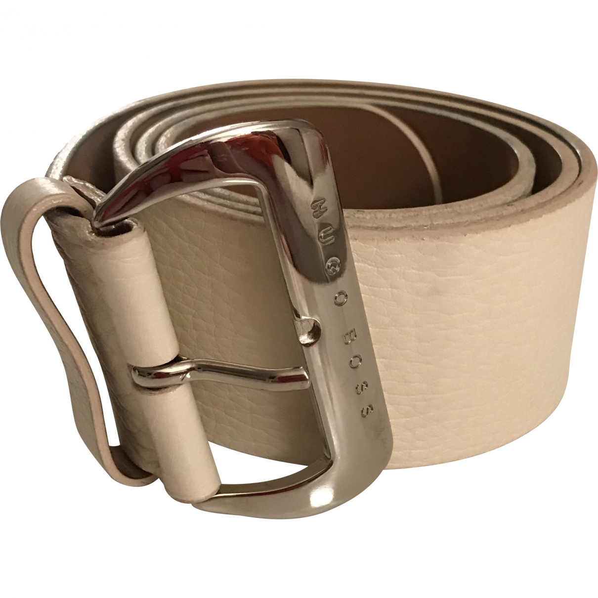 Boss \N White Leather belt for Women 85 cm