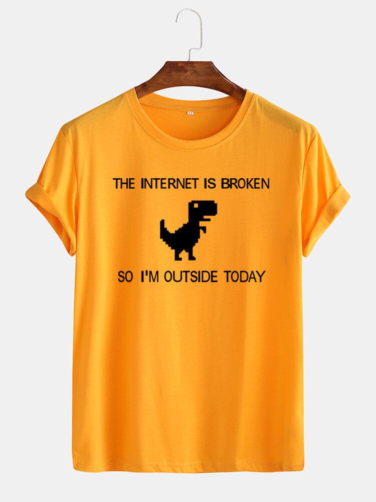 Mens Funny Dinosaur Cartoon Slogan Print Casual T-Shirts