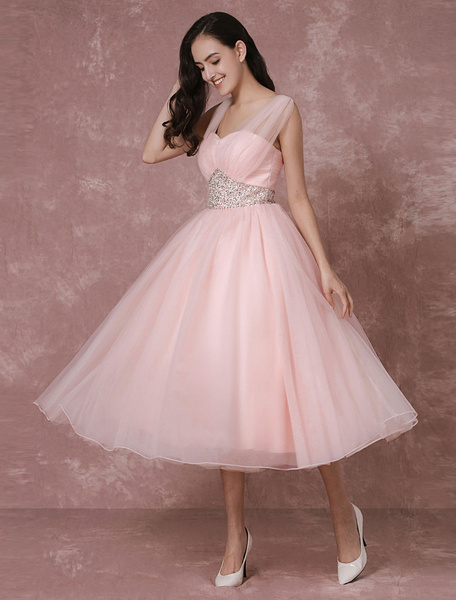 Milanoo Tulle Wedding Dress Pink Bridal Dress Short Backless A-line Cocktail Dress