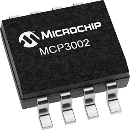 Microchip MCP3002-I/MS, 10 bit Serial ADC Pseudo Differential Input, 8-Pin MSOP (100)