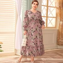 Plus Shirred Waist Flounce Hem Floral Print Maxi Dress