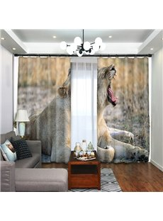 Lying Lion Yawned in Wild 3D Curtain Blackout for Bedroom