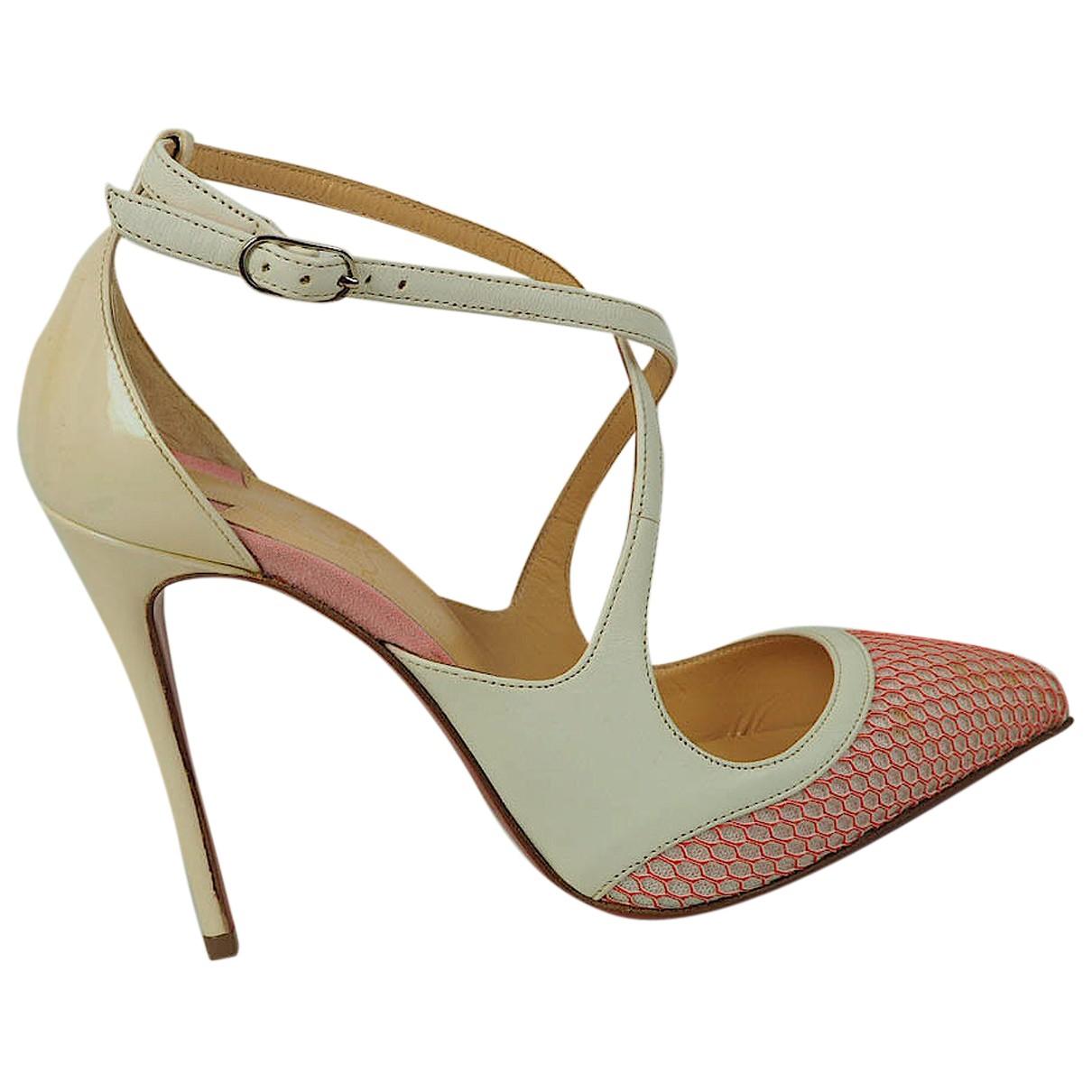 Christian Louboutin Fliketta White Leather Heels for Women 34 EU