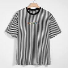 Men Colorful Letter Embroidery Striped Tee