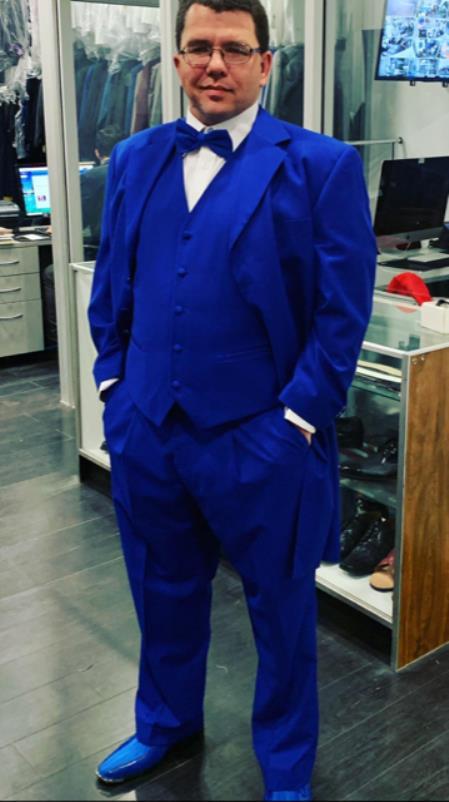 Mens Single Breasted Notch Lapel Dark Blue Suit