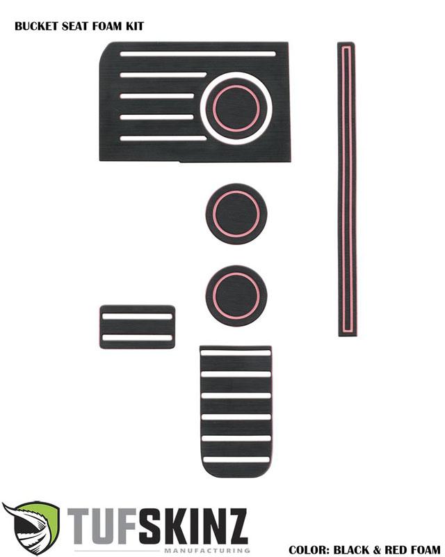 Tufskinz TUN003-FPN-X Interior Cup Holder Inserts Fits 14-up Toyota Tundra W/Bucket Seats 7 Piece Kit Black/Pink