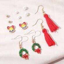 2pairs Christmas Drop Earring & 4pairs Stud Earrings