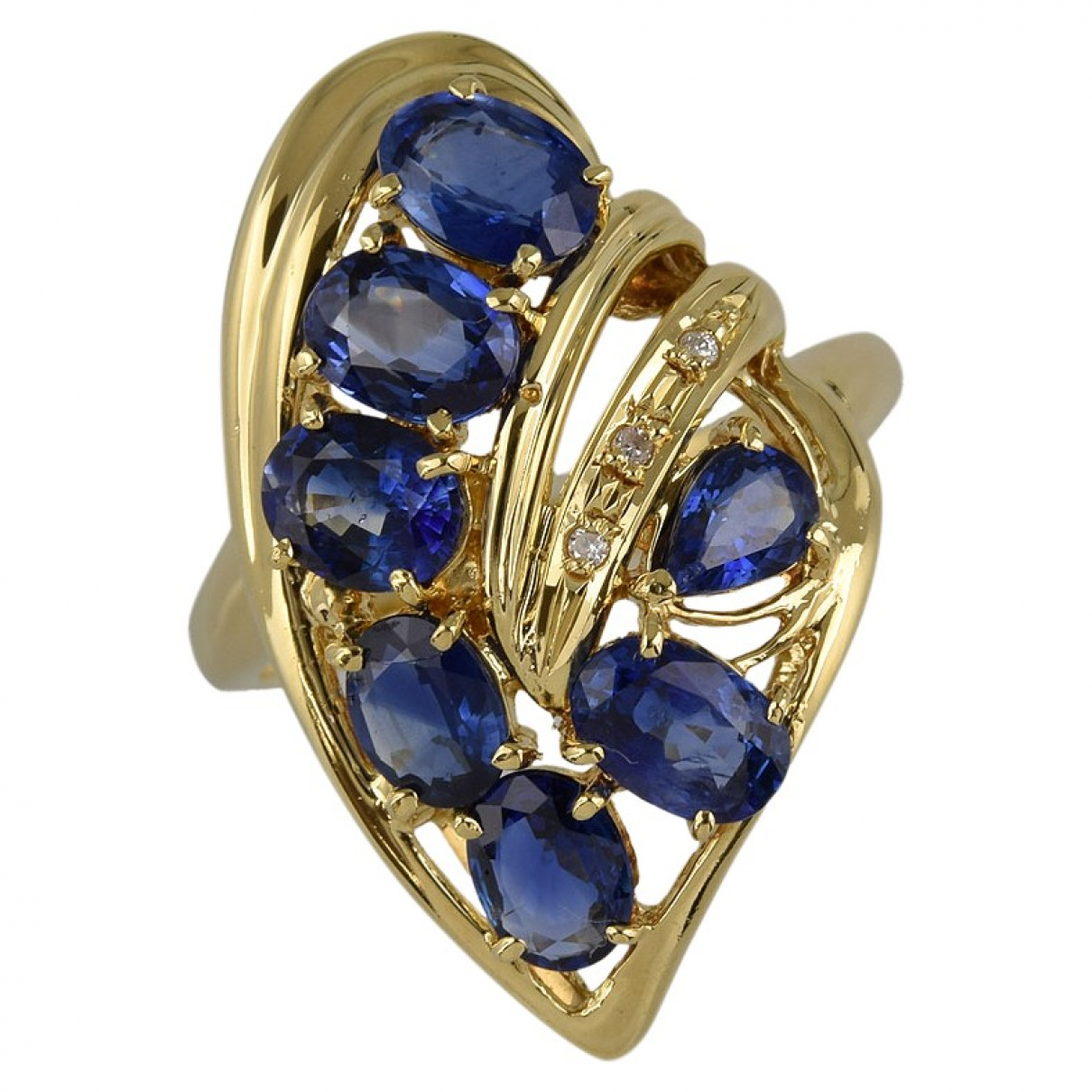 Non Signé / Unsigned \N Blue Yellow gold ring for Women 51 EU