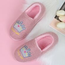 Crown Graphic Slip On Fluffy Slippers