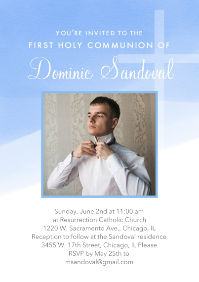 Communion 5x7 Personal Stationery, Card & Stationery -Watercolor Blue Communion