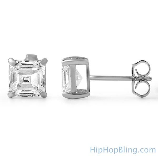 Asscher Cut CZ Stud Earrings .925 Silver