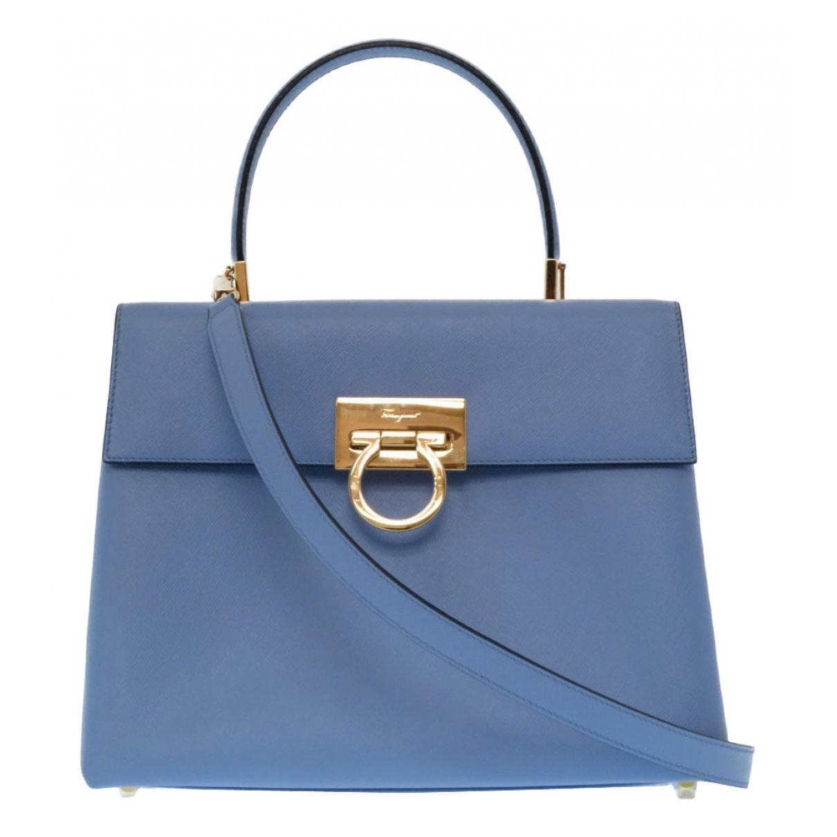 Salvatore Ferragamo - Sac a main   pour femme en cuir - bleu