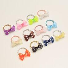 12pcs Toddler Girls Polka Dot Pattern Hair Tie