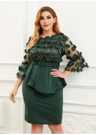 Sequin Flower Applique Plus Size Top and Skirt - L