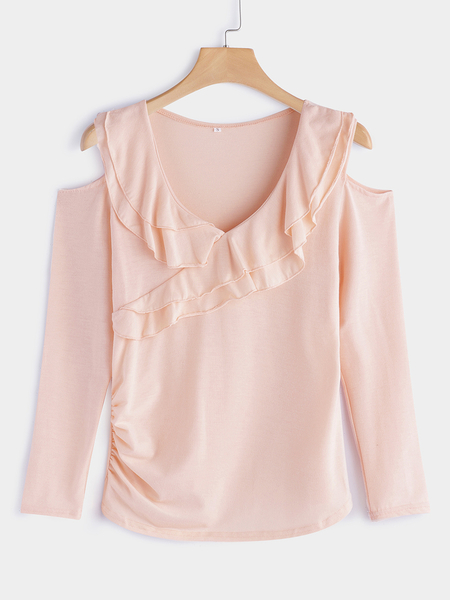 Yoins Pink Tiered Flounced Details Crossed Front Cold Shoulder Long Sleeves T-shirt