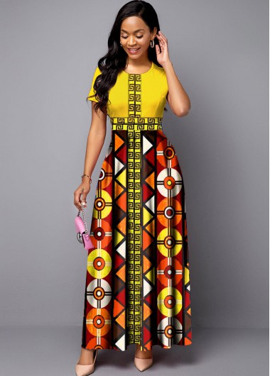 Rosewe Women Yellow Bohemian Print Short Sleeve Maxi Dress Round Neck Tribal Printed Vintage Cocktail Party Dress - M