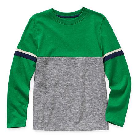 Arizona Little & Big Boys Crew Neck Long Sleeve T-Shirt, Xx-small (4-5) , Green