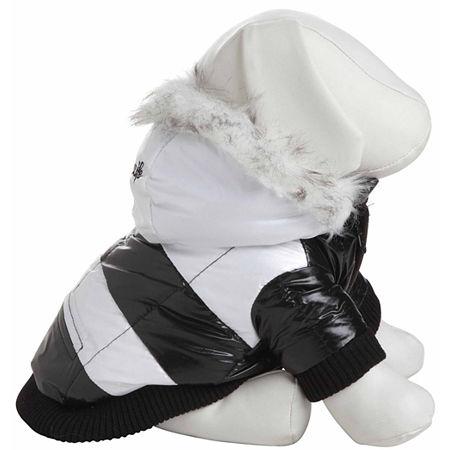 The Pet Life Fashion Striped Ultra-Plush Pet Parka Coat, One Size , Black
