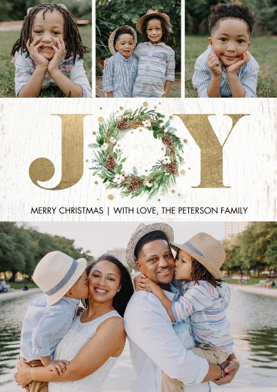 Christmas Photo Cards Flat Glossy Photo Paper Cards with Envelopes, 5x7, Card & Stationery -Christmas Joy Wreath Gold by Tumbalina