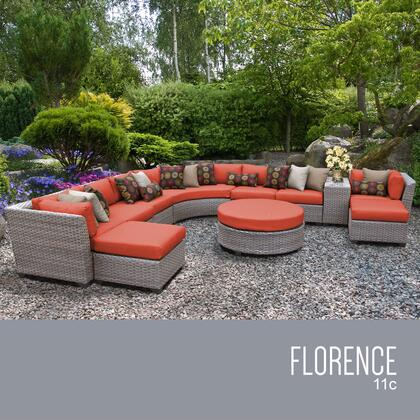 FLORENCE-11c-TANGERINE Florence 11 Piece Outdoor Wicker Patio Furniture Set 11c with 2 Covers: Grey and