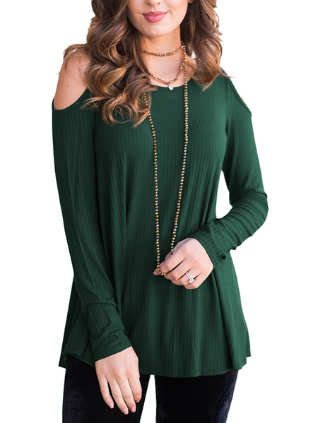 Yoins Army Green Round Neck Cold Shoulder Thermal Top