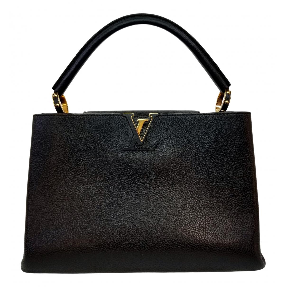 Louis Vuitton - Sac a main Capucines pour femme en cuir - noir